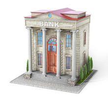 Business Concept. Bank Building Isolated On The White. 3d Illustration