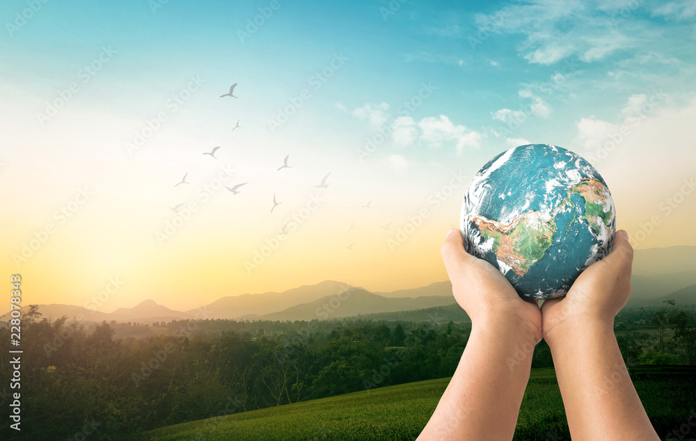 Fototapeta World environment day concept: Human hands holding earth global over mountain sunrise background. Elements of this image furnished by NASA