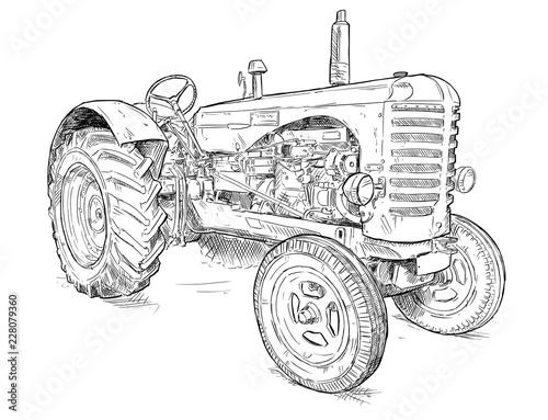 Wektor artystyczny pióro i atrament rysunek stary ciągnik. Ciągnik został wyprodukowany w Szkocji, w Wielkiej Brytanii w latach 1954 - 1958 lub 50-tych.