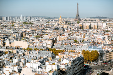 Fototapeta Paryż Aerial panoramic view of Paris from the Notre-Dame cathedral with Eiffel tower during the morning light in France