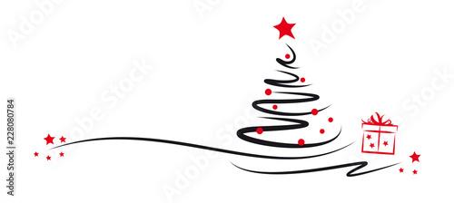 Fototapeta tannenbaum mit roten kugeln und geschenk obraz