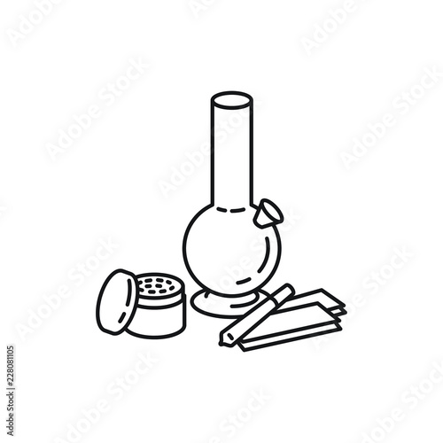 Bong, grinder, joint, and rollies, marijuana accessories products vector black l Fototapete