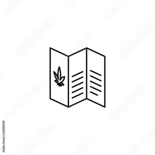 Valokuva  Informational Marijuana Cannabis Brochure vector black line art symbols on white