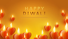 Diwali Festival Greating Card With Glowing Hearts, Lights. Vector Paper Flying Candles Illuminated Background.