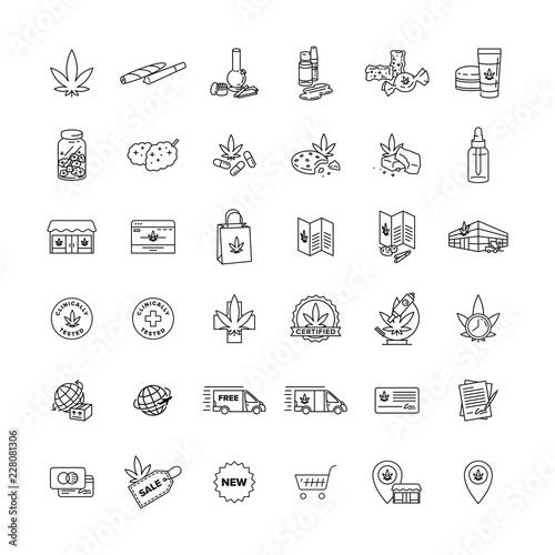 Obraz na plátně Marijuana Business and Product Icon Pack vector black line art symbols on white