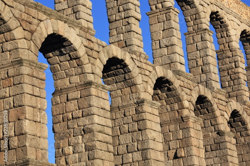 Ancient Roman aqueduct bridge of Segovia, Castilla Leon, Spain Canvas Print