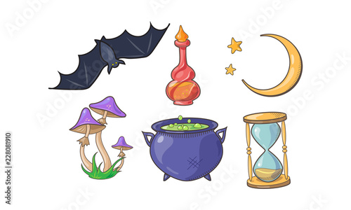 Photo Magic and spell signs set, Halloween magical elements, potion bottle, crescent,