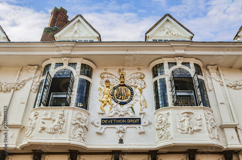 Photo Ancient House decorated with pargeting, and with coat of arms, Ipswich, Suffolk,