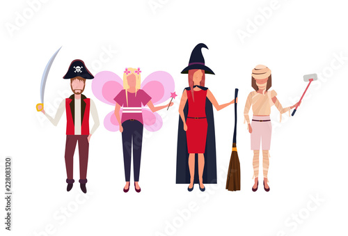 b7068fca woman man wearing different costumes standing together happy halloween  concept isolated male female cartoon character full