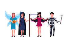 Woman Man Wearing Different Costumes Standing Together Happy Halloween Concept Isolated Male Female Cartoon Character Full Length Flat Horizontal Vector Illustration