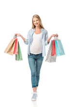 Beautiful Pregnant Girl Holding Shopping Bags Isolated On White