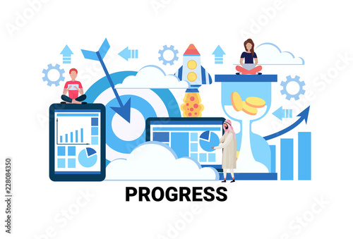 Fototapeta business people successful teamwork strategy progress concept innovation project financial startup launching flat horizontal vector illustration obraz