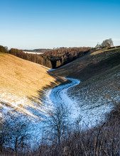 Wayrham Dale On The Yorkshire Wolds With A Light Dusting Of Snow
