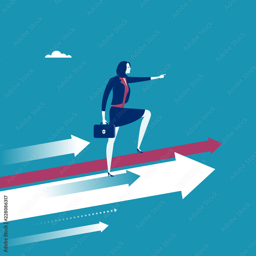 Fototapeta Female leader stands on arrows and points direction forward. Concept business illustration.