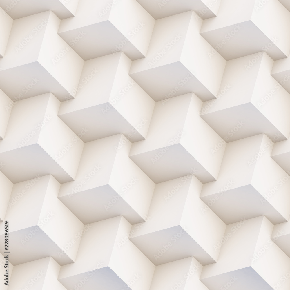 Seamless 3D pattern made of white and beige geometric shapes, creative background or wallpaper surface made of light and shadow. Futuristic decorative abstract texture design, simple graphic elements