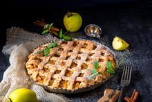 Tasty Apple Pie With Lattice Upper Crust