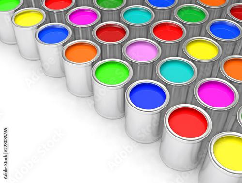 Pots de peinture couleur