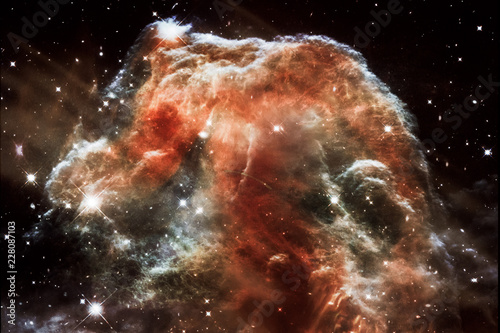 Nebula and galaxies in space, abstract sci-fi background. Elements of this image furnished by NASA.