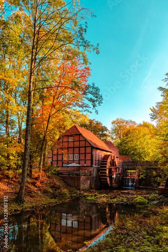 Las jesienią i piękny i malowniczy młyn wodny