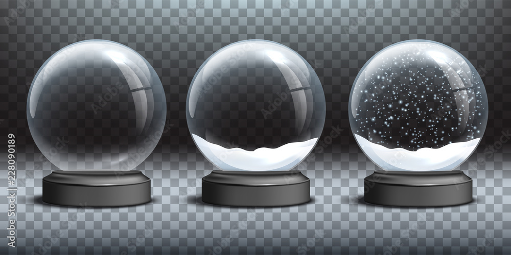 Fototapeta Snow globe templates. Empty glass snow globe and snow globes with snow on transparent background. Vector Christmas and New Year design elements.