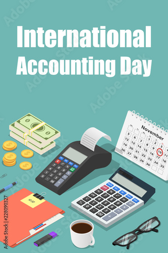 Photo Global accounting day concept background