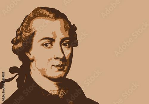 Obraz na plátne Portrait de Kant, célèbre philosophe et écrivain allemand du 18ème siècle