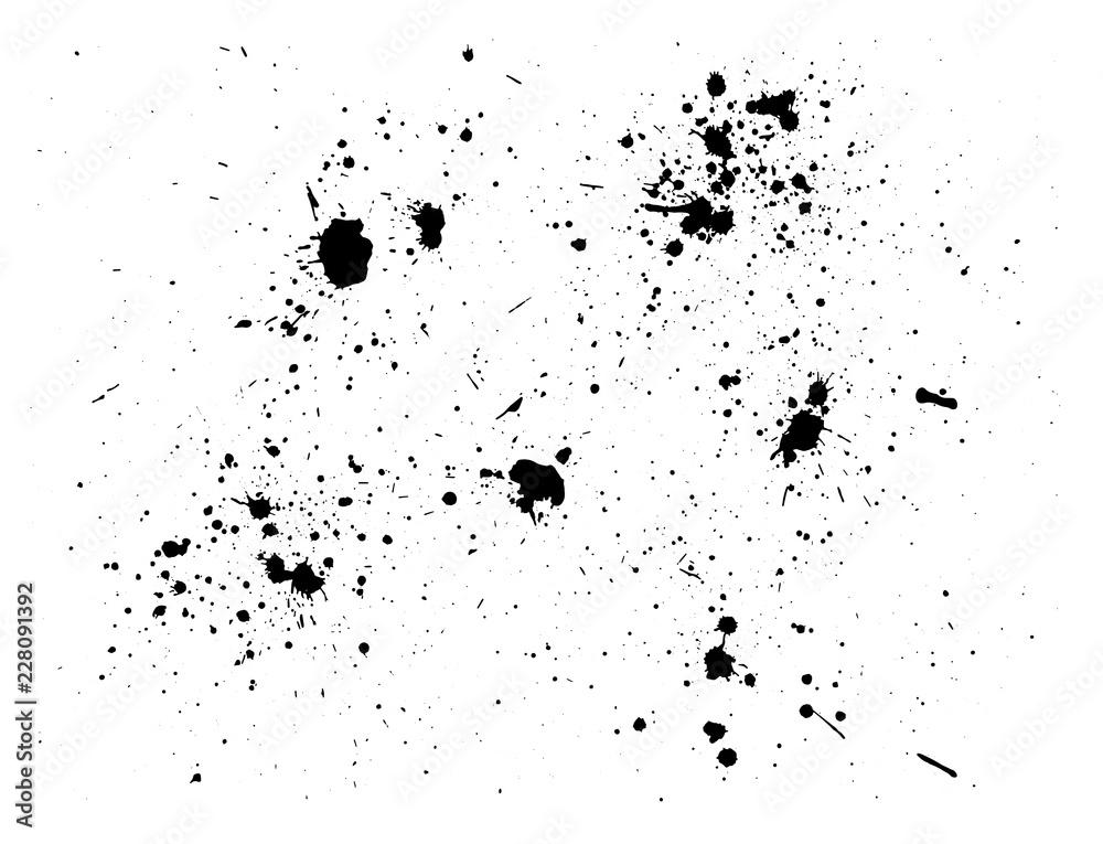 Fototapeta Paint splash background. Black watercolor spray. Abstract grunge ink texture isolated on white. Vector illustration