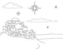 A Christmas Nativity Coloring Scene Cartoon, With The City Of Bethlehem And The Star Above. Christian Religious Illustration.