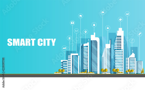 Photo Stands Turquoise Urban landscape with infographic elements. Smart city. Modern city. Concept website template. Vector illustration.