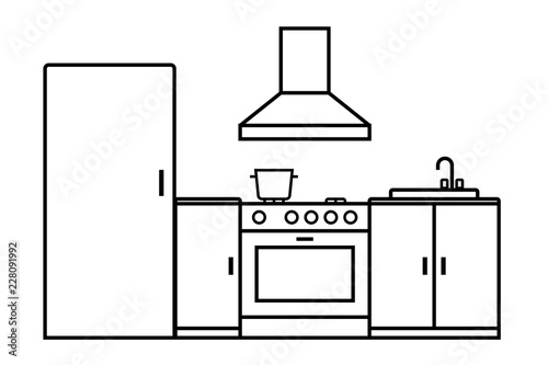 Kitchen Room Outline Icon Clipart Image Isolated On White