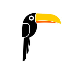 Toucan Bird Icon. Clipart Image Isolated On White Background
