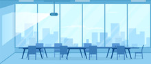 Empty Conference Room With Projector. Vector Illustration