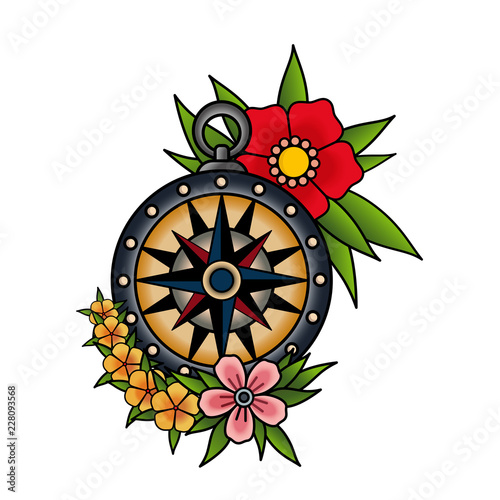 Compass and flowers, old school tattoo style. Red pink and yellow flowers. Isolated on white background. Vector illustration.