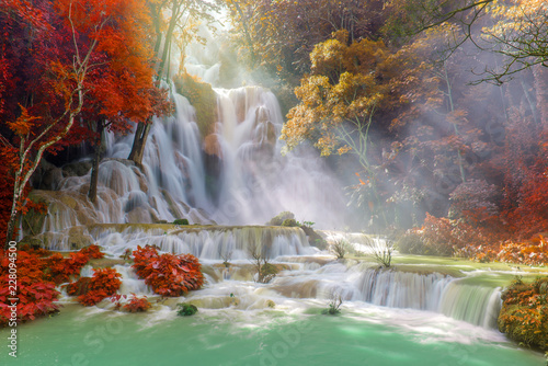 Waterfall in rain forest (Tat Kuang Si Waterfalls at Luang prabang, Laos) - 228094500