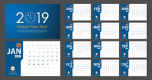 2019 New Year Calendar Simple Modern Style. Blue And Orange. Event Planner. All Size. Vector Illustration
