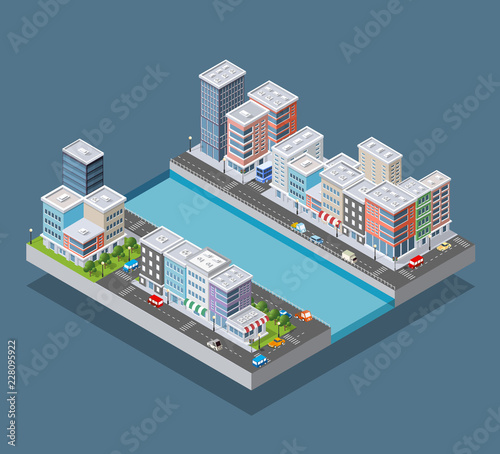 Leinwand Poster Isometric city block