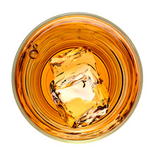 Whiskey Or Whisky In Rocks Glass From Top View Isolated On White Background