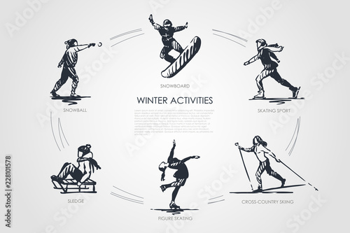 Obraz Winter activities - snowball, snowboard, skating sport, cross-country skiing, figure skating, sledge vector concept set - fototapety do salonu