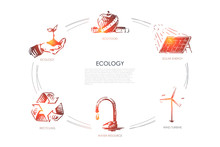 Ecology - Eco Food, Ecology, Solar Energy, Wind Turbine, Water Resourse, Recycling Vector Concept Set