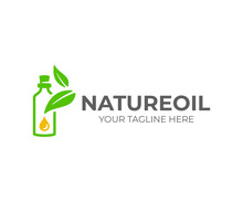 Essential Oil Logo Design. Natural Oil With Fresh Herbs Vector Design. Essential Oil Bottle With Leaves Logotype