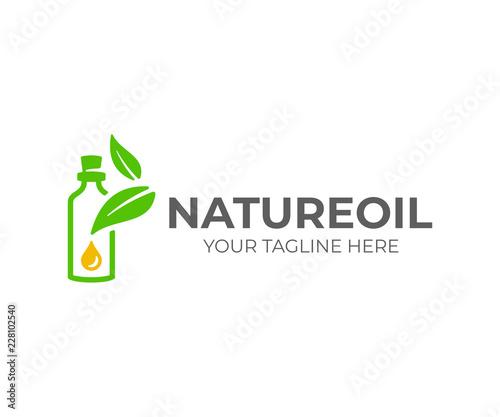 Fototapeta Essential oil logo design. Natural oil with fresh herbs vector design. Essential oil bottle with leaves logotype obraz