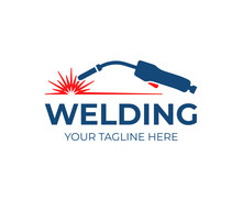 Welding Torch With Spark Logo Design. Welder Tool Vector Design. Welding Work Logotype