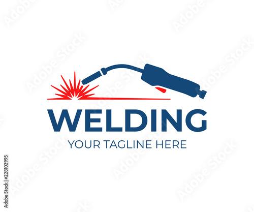 Tablou Canvas Welding torch with spark logo design