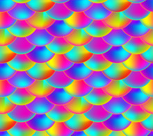 Vector Seamless Pattern, Rainbow Colored Scale, Colorful Endless Background.