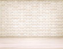 Vector Realistic Brick Wall Wooden Floor Room