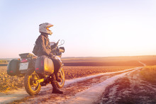 Motorbiker Travelling, Autumn Day, Motorcycle Off Road, Rider, Adventurer, Extreme Tourism, Cold Weather Clothes, Uses Smartphone, Internet, Search, Light Tinting