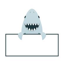 Cartoon Smile Shark With Open ...