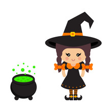 Cartoon Cute Witch Vector With...