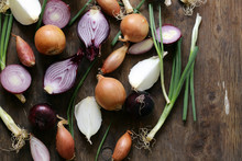 Natural Organic Onions Of Different Varieties