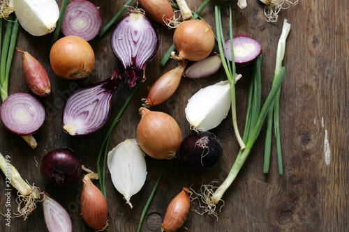 Fotomural  natural organic onions of different varieties